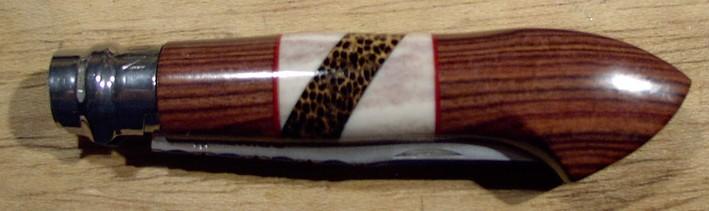 Opinel custom N°8 en marqueterie (palissandre, renne, palmier)