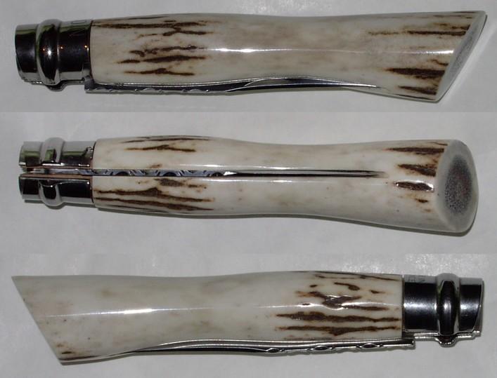 """Opinel custom N°8 en bois de cerf, style """"moderne"""""""