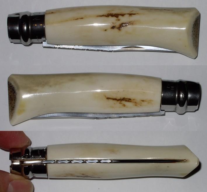 Opinel custom N°9 en bois de cerf poli