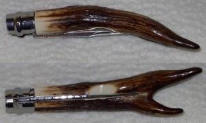 Opinel custom N°8 en bois de cerf sambar, talon en forme de fourche