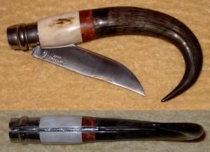 Opinel custom N°9 en bois de cerf, loupe d'amboine et corne de chamois